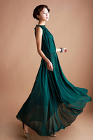 2013 New Fashion Women Bohenmia Chiffon Wave Maxi Beach Dress Lady Elagant Ruffles Evening Party Long Dress Wholesale