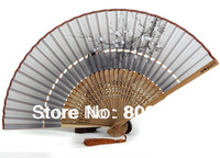 Free Shipping 2014 Direct Selling New Folk Art Leques Hand Painted Chinese Silk Folding Fans for Women Wedding Gift