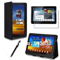 3 IN 1 Bracket Stand Case For Samsung Galaxy Tab 2 P5100 + Screen Protector For  P5100+ Stylus Free Shipping + 7 Color