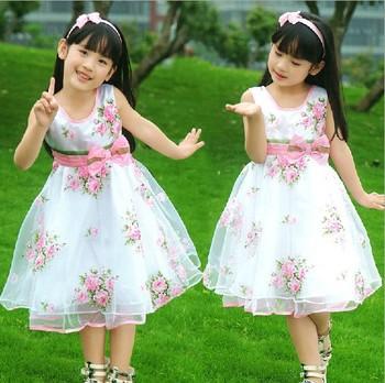 Girl dress Princess Girl's  chiffon  Sleeveless party  Dresses  Round Neck Vest bowknot  Dress girls dresses  summer 2014 A037