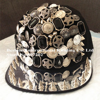 2013 free shipping Rivet Cap  Punk Rock Hip hop fashion unisex Studs Hat studded and Spiked snapback black  hats A14A