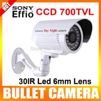 "1/3"" Sony Super HAD CCD II 700TVL 30IR LED 6mm Lens Waterproof Camera CCTV Security Camera Color White"