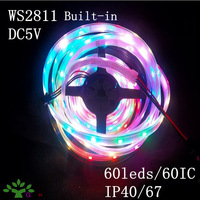 ws2811 IC led pixel strip 60leds/M DC5V input 60pcs ws2811IC built-in the 5050smd rgb waterproof IP40/65/67 free shipping