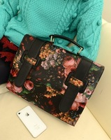 Free shipping Fashion normic 2013 flowers vintage messenger bag oil painting inclined handbag