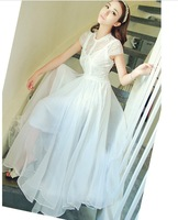 Discount! Fashion Summer White Maxi Dress 2013 Lace Bohemian Maxi Dresses Long With Sleeve Women Mesh Maxi Dress for Women