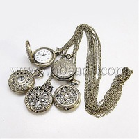 Stock Deals Fashion Iron Pocket Watches,  with Brass Watch Head,  Antique Bronze,  760mm