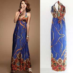Discounts Sale ! 2014 New Fashion Summer Maxi Dresses Evening Women's Print Dresses Bohemia Beach Cotton Long Dresses D081