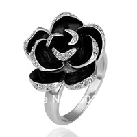 SQ18KRGPR89/18K Gold Filled Black Enamel Rose Flower Finger Ring With Bling Rhinestone For Best Friend,Promotion,Free Shipping