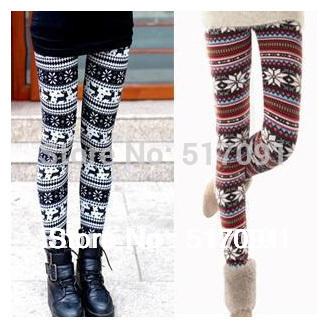 Free Shipping 2014 Autumn Winter Fashion Vintage Women Leggings Winter Pants Leg Warm