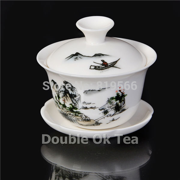 Dehua Ceramic Gaiwan Chinese Landscape Painting Porcelain Kungfu Tea Cup Set Service 2pcs lot
