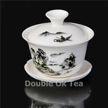 2Pcs Bone China Gaiwan Set Chinese Dehua Landscape Painting Ceramic/Porcelain Kungfu Tea Cup Set Service Wholesale Free Shipping