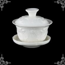 Fine Bone China Ceramic/Porcelain 120ml White Gaiwan Chinese Dragon Glazed Gongfu Tea Set Of Cups Wholesale Tea Service