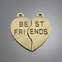 10pairs/lot 23mm Antique Bronze Heart Shaped Puzzle pieces BEST FRIENDS Charms