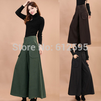 Brand new 1PC Fashion Women S--8XL Larger Size THIN or Thick Wide Leg Casual Pants Trousers Cotton Comfortable Skirt Pants
