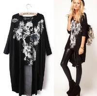 women plus size Blouse Shirt  Ladies Fashion tops Bat sleeve skull print women casual tops &Brand clothing ladies shirt