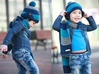 OWIND Hotsale autumn and winter Christmas ear protectors children hat scarf sets ,  wholesale