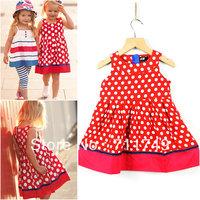 Free Shipping Wholesale New Arrival 2013 Summer 100% Cotton Dot Polka Style Girls Dress Kids Casual Dress 5pcs/lot size 2T~6