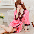 Sexy sleepwear summer viscose translucent robe all-match bathrobes nightgown black lace set temptation Sexy lingerie
