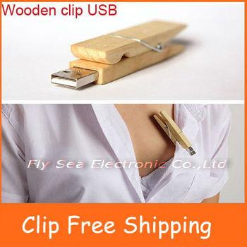 Free shipping Wholesales!Genuine cheap popular Wooden Clip USB Mass storage 2G/4G/8G/16G 10pcs/lot