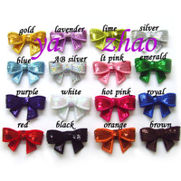 "2"" Embroideried sequin bows 80pcs/lot, Mix 16 colors / Trial order!"
