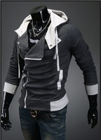 2013NEW Free shipping Fashion Mens Slim Fit Irregular Zip Up Hoodies Jackets Coats Multicolor Gray Blue DarkGray M-XXL