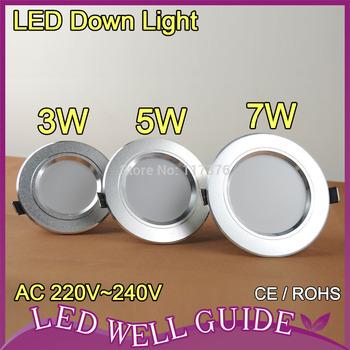 LED downlight 5W 12W 5730SMD AC220V 240V warm white cold white 2014 new free shipping