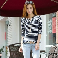 2014 new women's clothes tops Tees Spring loose 100% cotton multi-button stripe long-sleeve t-shirt basic shirt free shipping