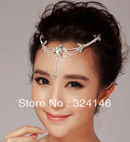 factory price 3pcs/lot rhinestone Frontlet clear fashion hairpins bridal jewelry wedding accessory wholesale