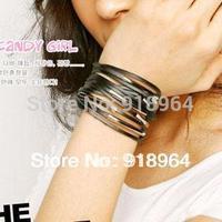D022 Man Woman Fashion Jewelry Silver Alloy Weave Buckle Multi Layer Punk PU leather Charm Bracelets