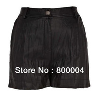 Cool black wrink PU sexy leather pants simple and elegant style a good choice meeting with your boyfriend
