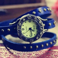 Free Shipping New Arrival Punk Leather winding women Watches Trend classics Bracelet
