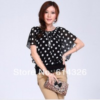 Free shipping Casual Batwing Sleeve Shirt Chiffon For Women 2013 Summer,Blouse Plus Size 3XL 4XL Tops Women Clothing #DH2047