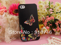 Super Light 3D Relief PC Luxury Swarovski Rhinestone Colored Painting Relief Cover Case For Iphone 5 Free Shipping Black