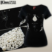 HOT 2014 fashion women's Summer Cotton T-shirt Beading diamond six cats family women tshirt K0074