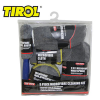 T16360b 9 Pieces Microfibre Cleaning Kit includes 3*Cloths,3*Wax Applicator Pads,2 In 1 Wash Sponge,Wash Mitt,Wheel Brush