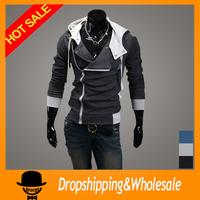 Free shipping 2014 Autumn Winter Fleece Cardigan Hooded Jacket Mens Assassins Creed Sports Hoodies Casual Slim Sweatshirt X-323