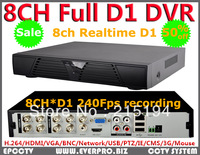 8 Channel H.264 240fps real time full D1 CCTV Standalone DVR Cloud network HDMI 1080P 8CH DVR recorder+Free shipping