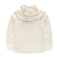size 90-130 autumn solid color chiffon patch collar basic shirt  Girls flowers  shirt  girl  lace shirt