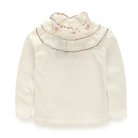 size 90-130 autumn solid color chiffon patch collar basic shirt  Girls flowers  shirt  girl  lace shirt  48 hours to send