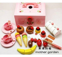 Baby Toys Mother Garden Playhouse Strawberry Series Afternoon Tea Sets Child Wood Kitchen Toy Set Gift Free Shipping