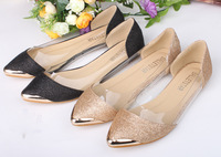 2015 New Fashion Pointed Toe Metal Bordered Flats Shoes Europe Hyaline Glitter Women Shoes Free Shipping A121