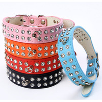 Free shipping 2013 Lefdy New  row Rhinestone Fashion PU Leather Dog Pet Collars for Puppy and pet product