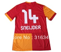 Hot sell 13/14 14# SNEIJDER best thai quality Galatasaray SK home red short sleeve fans vrsion soccer football jerseys,size:S-XL