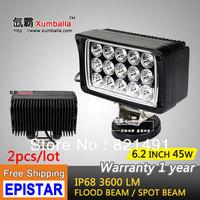 Free Shipping 2pcs 45W LED Work Light 12V 24V IP67 Flood Or Spot beam For 4WD 4x4 Off road Light TRUCK BOAT TRAIN BUS