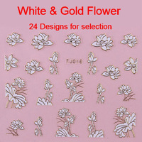 Wholesale 24 Designs 3D Nail Art Stickers White & Gold Metal Flower Decals Lotus Rose Wholesale Free Shipping