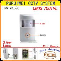 "100% Original  1/4"" CMOS 700tvl 3.7mm Lens Detecter Pinhole Hidden Infrared CCTV Camera.Free shipping!!"