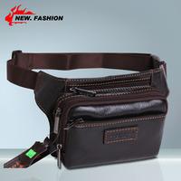 Hot New Sale Genuine leather Fashion Men black Brown Waist Bag Fanny Pack Purse Accessories Phone Pocket Wholesale 1PC NO1325
