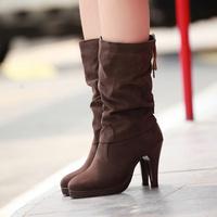 2014 women's ankle boots  women motorcycle boots high heel brief pleated medium-leg nubuck leather high-heeled boots platform
