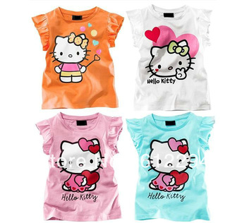 2013 kids Hello kitty baby girls t shirts /kids t shirt girl 4 color pink blue yellow white ZZ024 free shipping