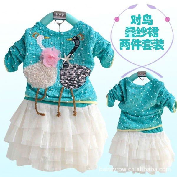 New children's wear children dress girl autumn day pack swan diagram children clothing baby set dreas + Free shipping(China (Mainland))